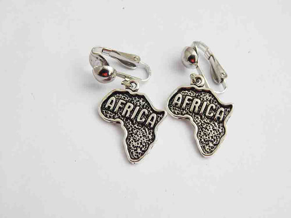 Africa Earrings Silver Clip On Non Pierced African Jewelry Ethnic Afrocentric