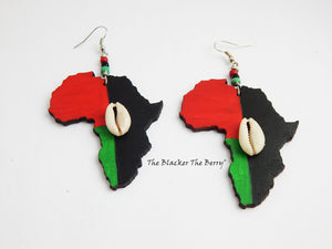 Africa Earrings Red Black Green Jewelry Hand Painted Pan African Handmade