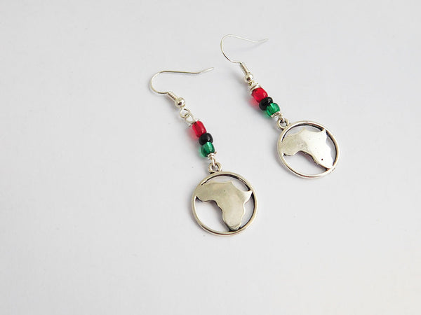Silver Africa Earrings Red Black Green Pan African Jewelry