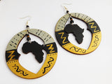 Africa Earrings Wooden Jewelry Silver Gold Black Hand Painted Wood Handmade African