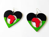 Love Africa Earrings Pan African Jewelry Wooden Handmade Heart RBG