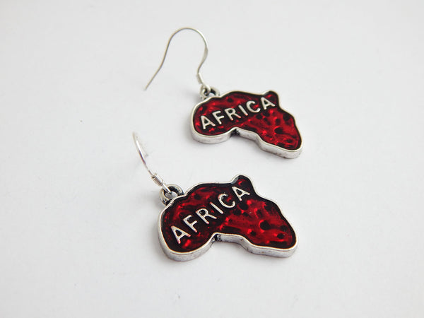 Africa Earrings Silver Jewelry Red African Ethnic Afrocentric