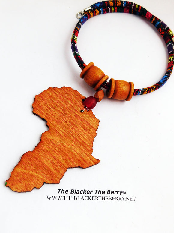 Africa Necklace Wooden Fabric Large