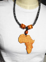 Africa Necklace Black White Fabric Necklace Wooden