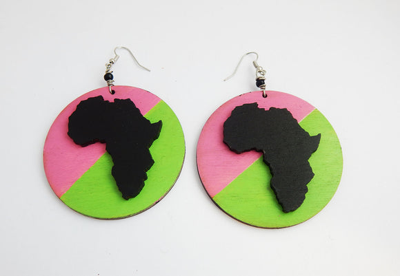 Pink & Green Earrings African Jewelry Black Art Woman Gift Ideas for Her Pink Green Wooden