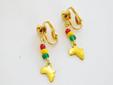 African Clip On Earrings Non Pierce Rasta Jewelry Small