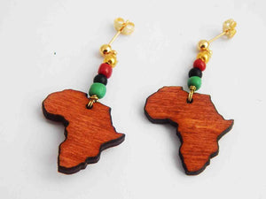 Africa Post Earrings RBG Pan African Wooden Small African Jewelry Red Black Green Ethnic Afrocentric Gold Women Teen Girls Gift Ideas