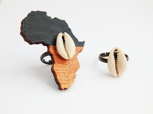 Africa Ring Wooden Cowrie Shell Rings Adjustable Fashion Ethnic Handmade