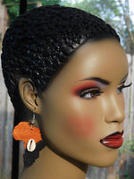 Africa Earrings Black Jewelry Afrocentric Cowrie Shell Ethnic Handmade
