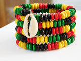 African Bracelet Wood Beaded Adjustable Women Kwanzaa Christmas