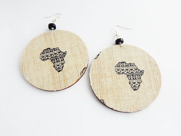 Africa Earrings Ethnic Wood Afrocentric Fabric Jewelry