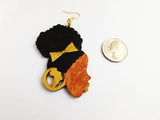African Earrings Black Woman Silhouette Hand Painted Wooden Gold Black Ethnic Jewelry