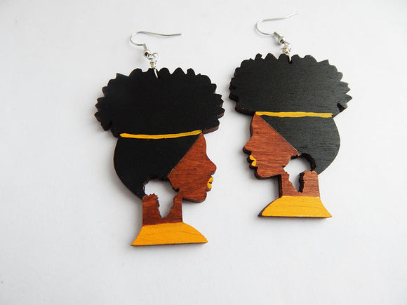 Afro Earrings Natural Hair African Jewelry Wooden