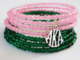 Pink Green Bracelet Beaded Jewelry