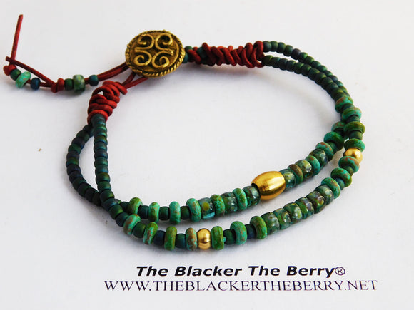 Green Patina Anklet Red Beaded Leather African Jewelry
