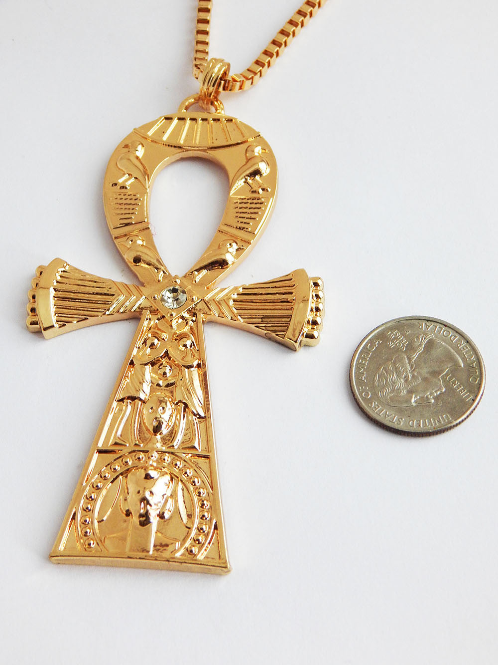 Large Gold Ankh Necklace Mens Jewelry African Egyptian Ankh Pendant