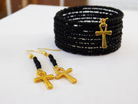 Ankh Bracelet Black Beaded Adjustable Handmade Christmas Gift Ideas Jewelry Set