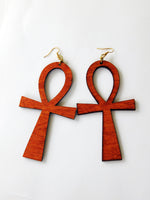 Ankh Earrings Wooden Jewelry Light Weight Handmade