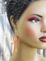 Ankh Earrings Wooden Beaded Jewelry