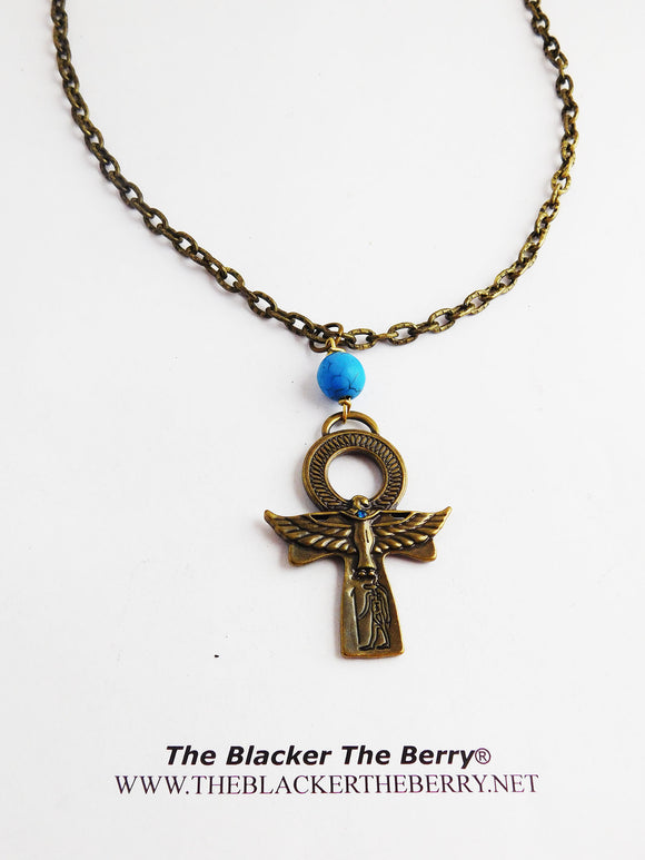Ankh Necklace Chain Jewelry Beaded Brass Blue