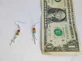 Ankh Earrings Rasta Red Yellow Green Beaded Small Jewelry