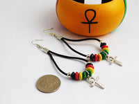 Ankh Bracelet Rasta Bangle Leather Earrings Jewelry Set
