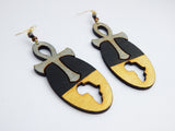 Ankh Africa Earrings Afrocentric Shaped Jewelry Gold Black African