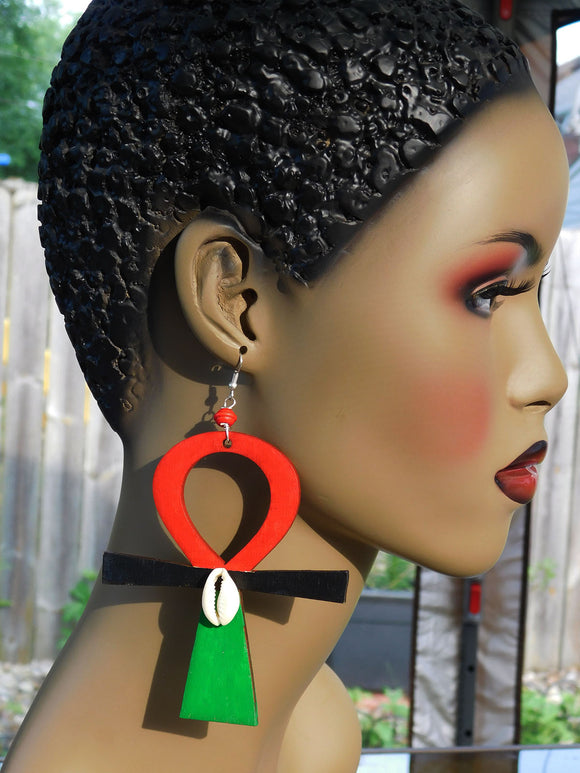 Large Ankh RBG Jewelry Red Black Green Cowrie Shell African