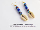African Earrings Blue Beaded Ethnic Jewelry Cowrie Shell