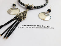 Tribal Jewelry Set Black White Necklaces Silver Women