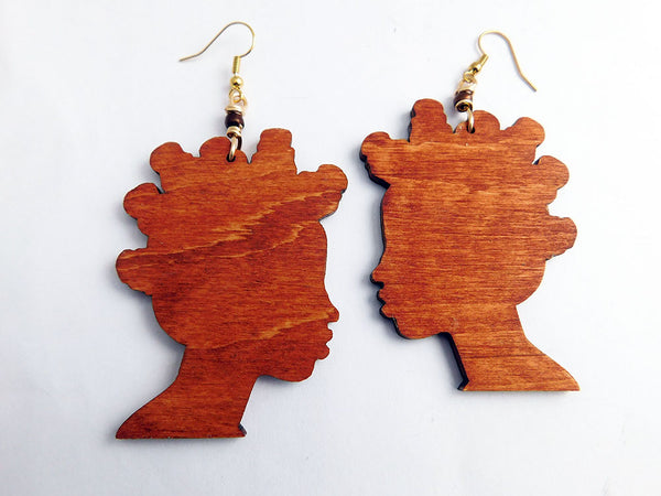 Bantu Knots Earrings Wooden Jewelry
