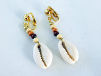 Cowrie Clip On Earrings Non Pierced Beaded Ethnic