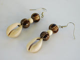 Cowrie Shell Earrings Beaded African Ethnic
