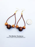 Leather Earrings Beaded Wooden Jewelry