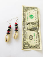 Cowrie Shell Earrings African Beaded Ethnic Red