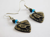 Bird Earrings Pewter Handmade Blue Beaded Gift Ideas Christmas