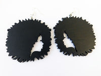 Black Earrings Wooden Silhouette Jewelry Women