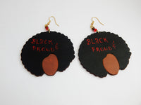 Afro Earrings Black and Proud Wooden Jewelry Ethnic Natural Hair Black Art Silhouette