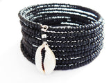 Black Beaded Cowrie Shell Bracelet Ethnic Jewelry Handmade