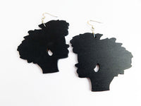 Afro Earrings Silhouette Wooden Jewelry Ethnic Gift Ideas for Her