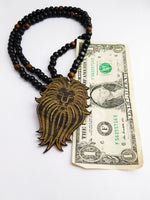 Lion Necklace Black Pendant Large Lion Jewelry Wooden Beaded Gift Ideas for Him Fathers Day