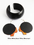 Afro Earrings Black Bangle Wooden Bracelets