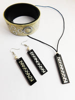 Ethnic Jewelry Set Black Silver Cream Minimal Earrings Necklace Bracelet