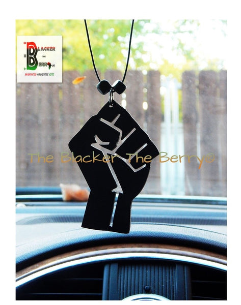 Black Power Fist Car Charm Accessories Handmade Rear View Mirror Hand Painted