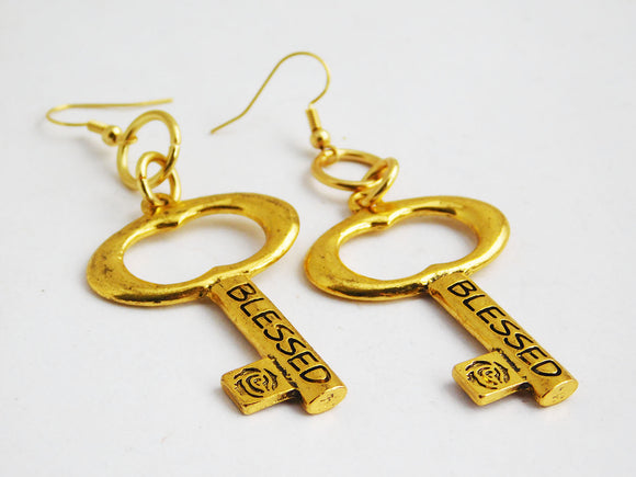 Bless Earrings Key Gold Jewelry Christian