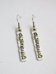 Blessed Earrings Silver Hammered Jewelry