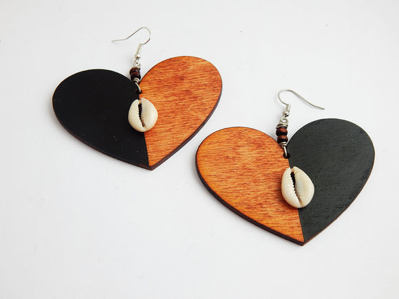 Heart Earrings Wooden Black Cowrie Shell Jewelry Ethnic Afrocentric Handmade