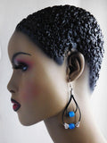 Ethnic Earrings Leather Blue Silver Beaded Jewelry