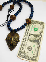 African Men Necklaces Ethnic Tribal Jewelry Blue Brass Handmade