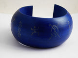 Goddess Earrings Blue Bangle Wooden Bracelets Silver Jewelry Set